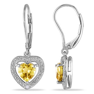 Miadora Sterling Silver 1 2/5ct TGW Citrine and Diamond Accent Heart Earrings