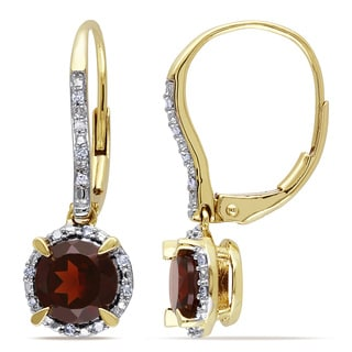 Miadora 10k Yellow Gold Garnet and 1/10ct TDW Diamond Earrings (H-I, I2-I3)