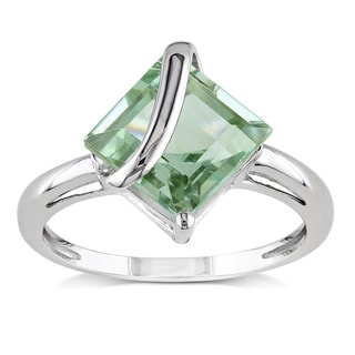Miadora 10k White Gold 2 1/4ct TGW Green Amethyst Solitaire Ring