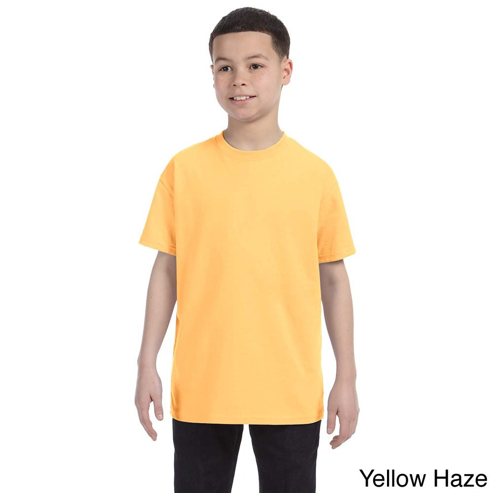 Gildan Youth Heavy Cotton 5.3 ounce T shirt Yellow Size L (14 16)