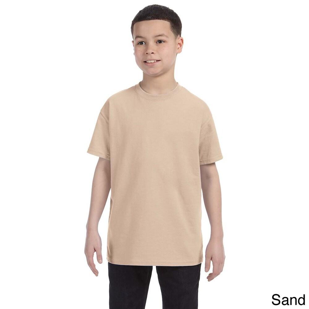Gildan Gildan Youth Heavy Cotton T shirt Tan Size L (14 16)