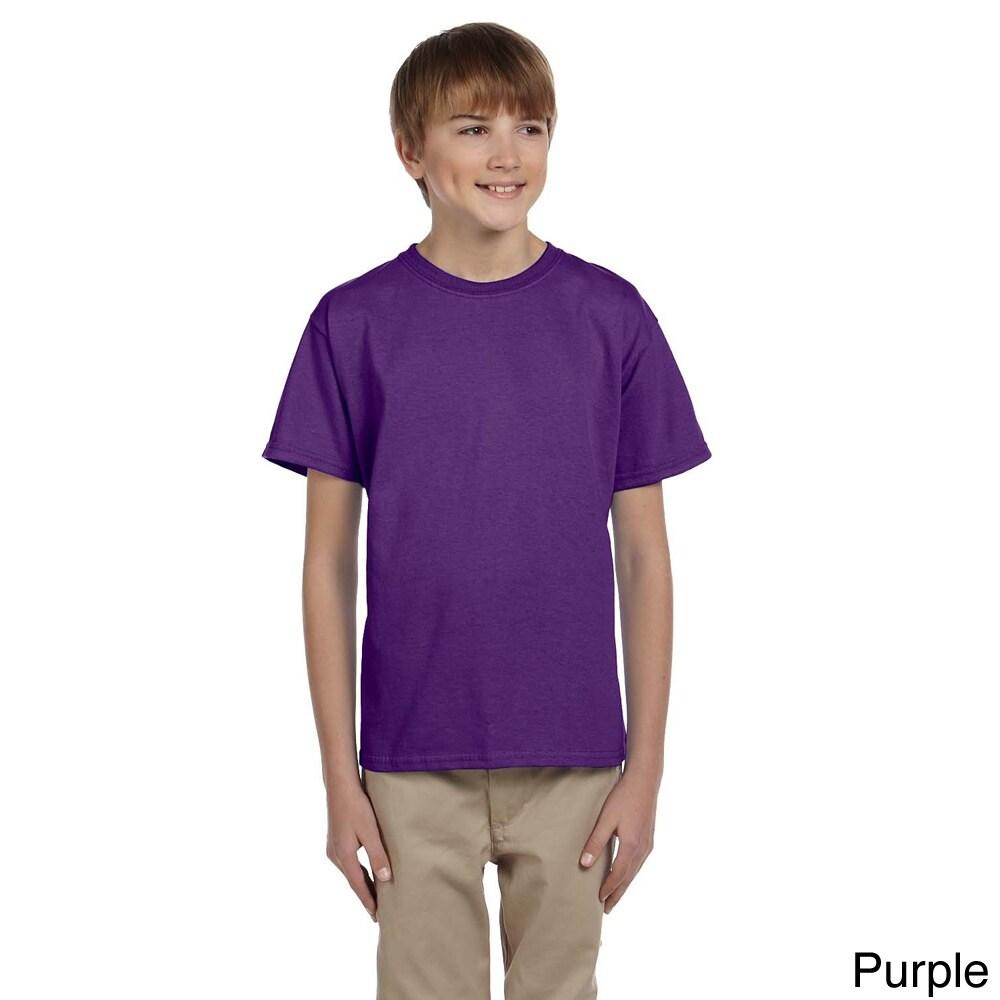 Gildan Gildan Youth Ultra Cotton 6 ounce T shirt Purple Size L (14 16)