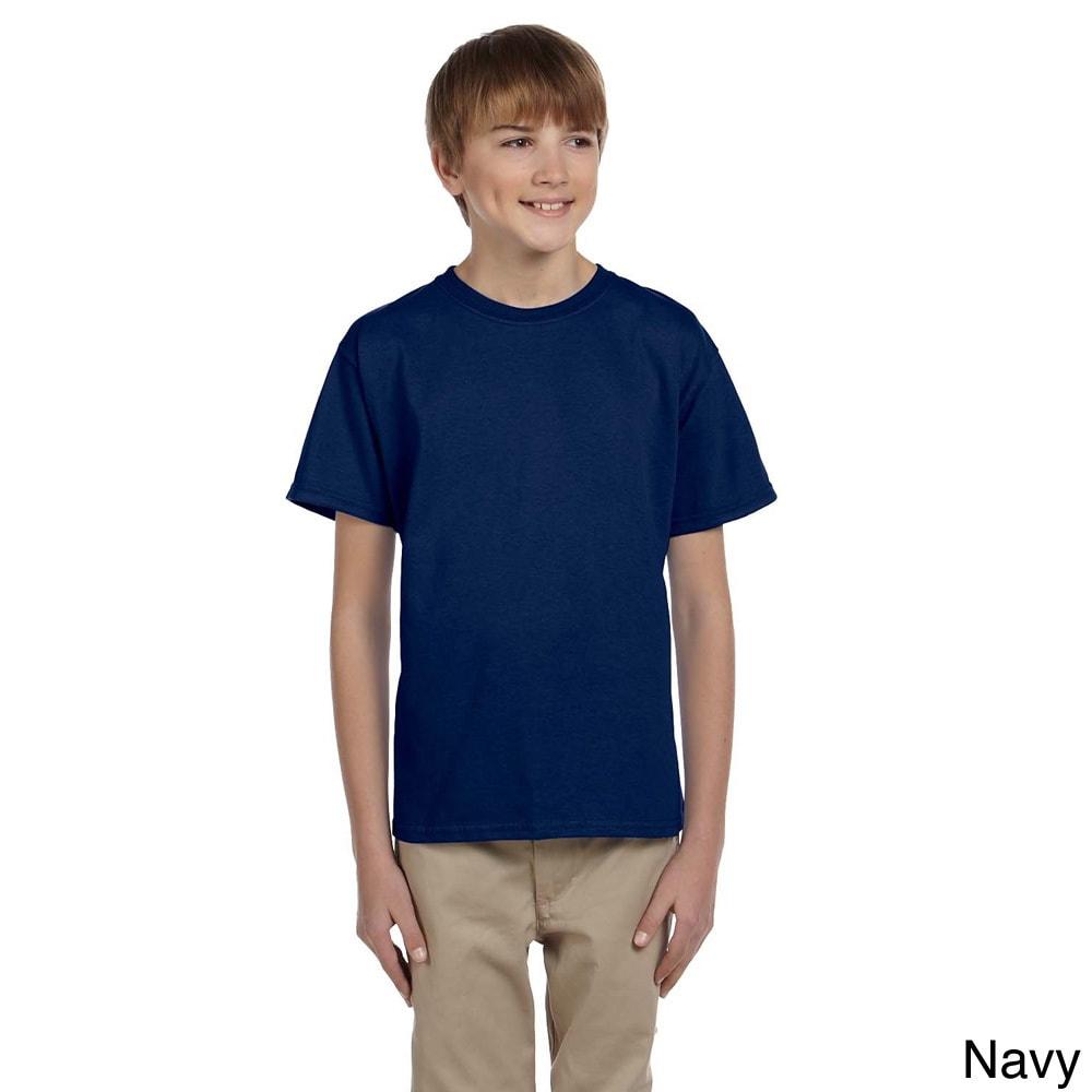 Gildan Gildan Youth Ultra Cotton 6 ounce T shirt Navy Size XS (4 6)