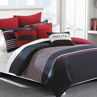 Nautica Mineola Navy Striped 3-Piece Cotton Duvet Cover Set
