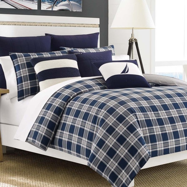 Nautica Eddington Navy Plaid 3 Piece Cotton Duvet Cover