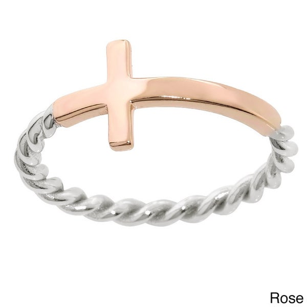 Eternally Haute Two-toned Sterling Silver Braided Cross Ring