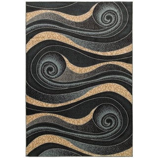 LNR Home Adana Black and Blue Geometric Area Rug (7'9 x 9'9)