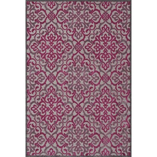 Larache Pewter Raspberry Area Rug (5'3 x 7'6)