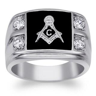 Stainless Steel Men's Cubic Zirconia Masonic Ring