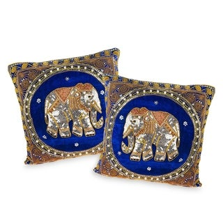 Set of 2 Elephant Embroidered Velvet Throw Pillow Cases (Thailand)