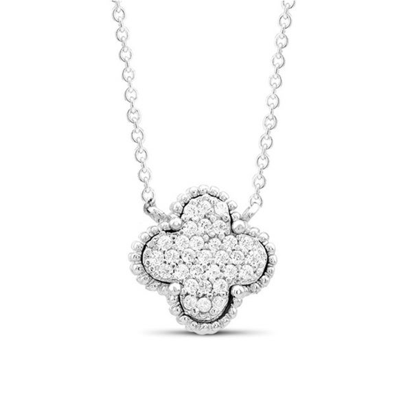 Sterling Silver Cubic Zirconia Clover Pendant Necklace