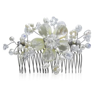 Dazzling Floral Garden Mother of Pearl Bridal Hair Comb (Thailand)