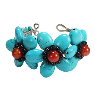 Triple Lucky Floral Turquoise Stone Adjustable Cuff (Thailand)