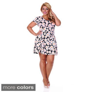 White Mark Women's Plus Size Daisy Print Skater Dress