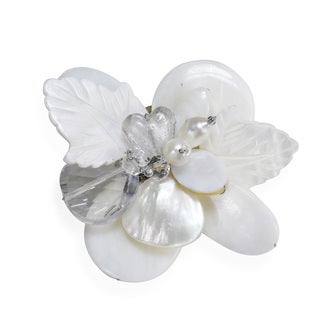 Nature's Charm Carved Mother of Pearl Pin or Brooch (Thailand)