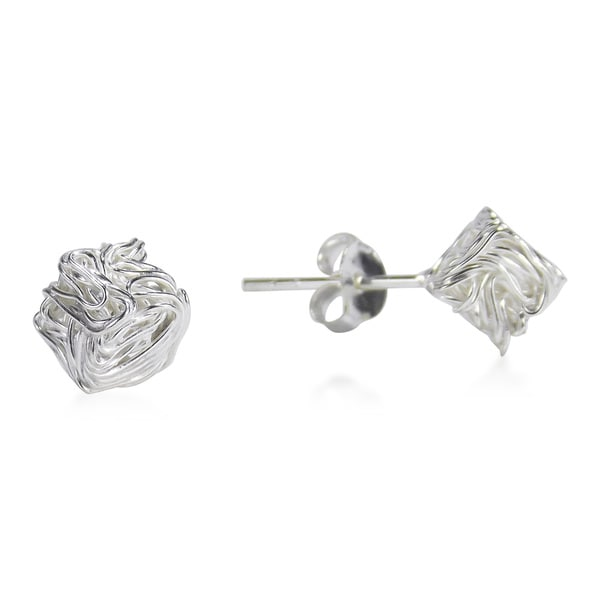 Tangled Wire Wrap Cube Sterling Silver Stud Earrings (Thailand)