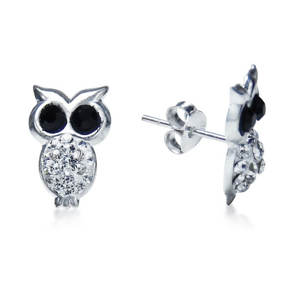 Sparkling Night Owl Cubic Zirconia .925 Silver Earrings (Thailand)
