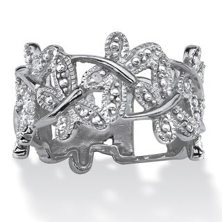 PalmBeach Diamond Accent Platinum-Plated Butterfly Band Ring