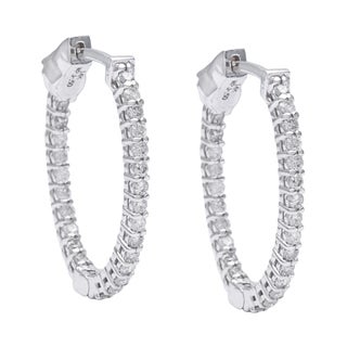 14k White Gold 1/2ct TDW Diamond Oval-shaped Hoop Earrings (G-H, I1-I2)