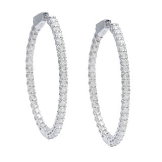 14k White Gold 2ct TDW Round-cut Diamond Oval Hoop Earrings (G-H, I1-I2)