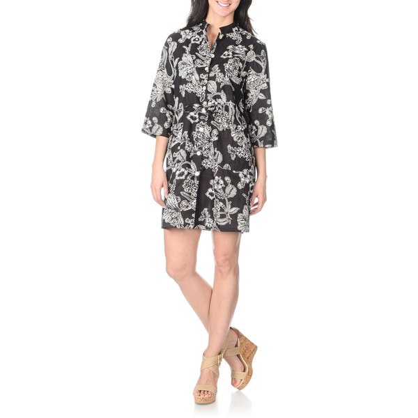 La Cera Women's Black Floral Print Cover-up