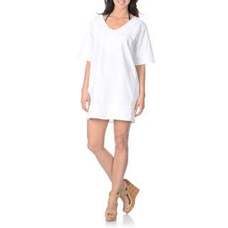 La Cera Women's White Embroidered Cover-up