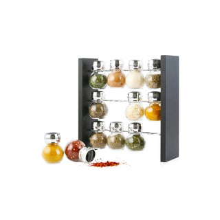 Orii Chrome/ Wood Black 12 Jar Spice Rack