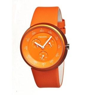 Fedon 1919 Men's Trapezium Orange Leather Orange Analog Watch