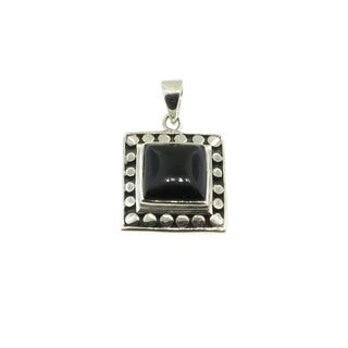 Sterling Silver Square Beaded Onyx Pendant (Thailand)