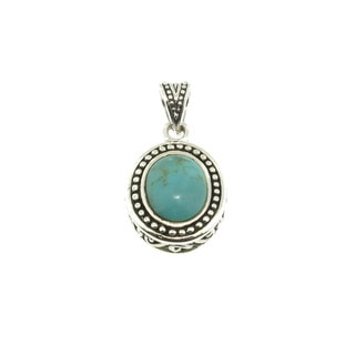 Sterling Silver Oval Beaded Turquoise Pendant (Thailand)