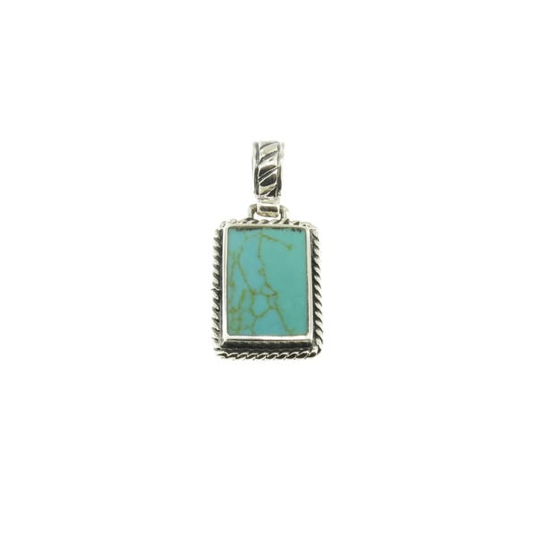 Sterling Silver Rope-Beaded RectangularTurquoise Pendant (Thailand)