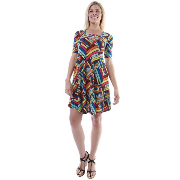 24/7 Comfort Apparel Women's Multicolor Printed Elbow-sleeve Dress