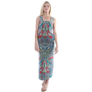 24/7 Comfort Apparel Women's Abstract Print Sleeveless Maxi Dress