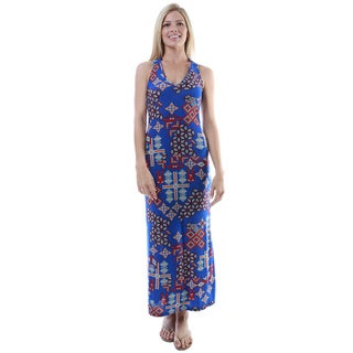 24/7 Comfort Apparel Women's Multicolor Print Sleeveless Maxi Dress