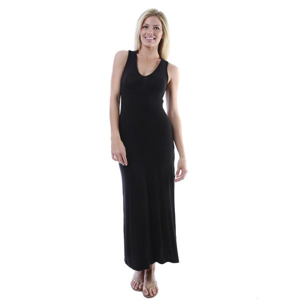 24/7 Comfort Apparel Women's Sleeveless Side-slit Maxi Dress