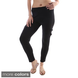 24/7 Comfort Apparel Women's Two-pocket Fitted Cargo Leggings