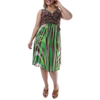 24/7 Comfort Apparel Women's Plus Size Multi-print Sleeveless Knee-length Dress