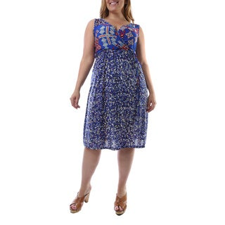 24/7 Comfort Apparel Women's Plus Size Multi-print Sleeveless Dress