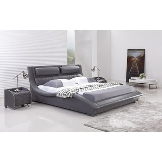 Napoli Grey Leatherette Platform Bed