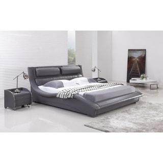 Napoli Grey Leatherette Platform Bed