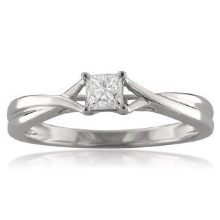 14k White Gold 1/4ct TDW Princess-cut Diamond Ring (G-H, SI2)