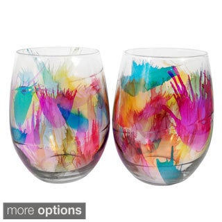 Hand-painted Multicolor Glassware (Set of 4)