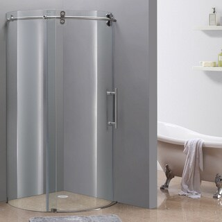 "Aston 36"" x 36"" Frameless Round Stainless Steel Finished Shower Enclosure with Right Opening"