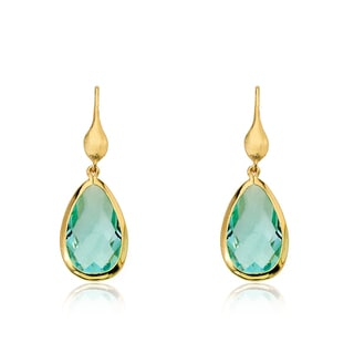 Riccova Arctic Mist 14k Goldplated Aqua Faceted Teardrop Dangle Earrings