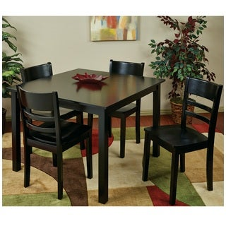 Dining Set with Contoured Cross Piece Design Chairs & Overhang Edge Table Top