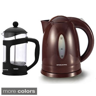 Ovente Cordless Electric Kettle with 34-ounce French Press Coffee Maker