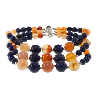 Pearlz Ocean Sterling Silver Carnelian and Lapis Lazuli Triple Strand Journey Bracelet