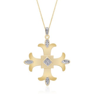 Finesque Sterling Silver, Yellow Gold or Rose Gold Diamond Accent Maltese Cross (I-J, I2-I3)