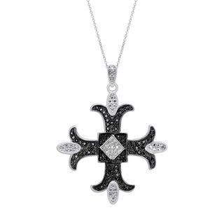 Finesque Sterling Silver Black or White Diamond Accent Maltese Cross (I-J, I2-I3)