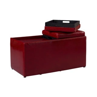 Linon Red Croc Ottoman Set